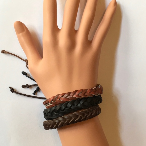 Jewelry - Set/3 Braided 100% Leather Bracelets Bn Blk Red Bn